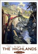 The Highlands, Monessie Gorge, Inverness-shire. BR(ScR) Vintage Travel Poster by Terence Cuneo